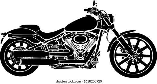 Harley Davidson motorbike silhouette vector image, hopefully can provide inspiration for automotive enthusiasts, thank you.