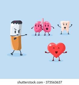 Harm of Smoking. Vector Illustration Collection Harmful dependence, destruction of internal organs