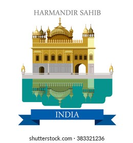 Harmandir Sahib sikhism temple in India. Flat cartoon style historic sight showplace attraction web site vector illustration. World countries cities vacation travel sightseeing Asia collection.