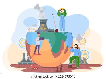 Harmful effects of human activity on the planet Earth. Air pollution, deforestation, drainage of soil. People destroy planet. Destructive impact of factories on the environment. The age of technology