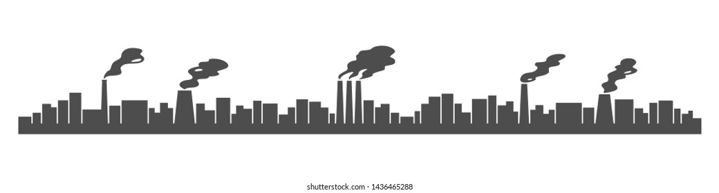 Harmful emissions from plant smokestacks. Atmosphere pollution. Vector illustration.
