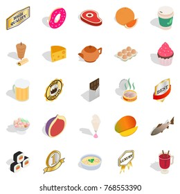 Harmful food icons set. Isometric set of 25 harmful food vector icons for web isolated on white background