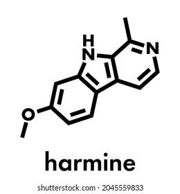 Harmine alkaloid molecule. Herbal inhibitor of monoamine oxidase A. (MAO-A). Skeletal formula.