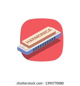 Harmonica. Vector 3d isometric color icon new flat style. Creative illustration, idea for infographics.