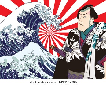 A harmonious collage with men with waves and black kimonos
