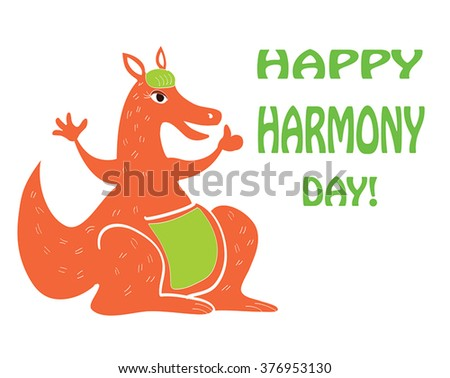 Harmony day australia funny greeting card stock vector royalty free harmony day in australia funny greeting card with cartoon kangaroo with like hand as m4hsunfo