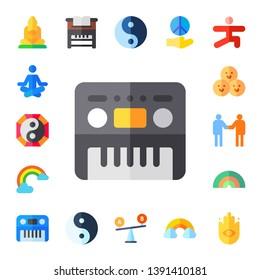 harmony icon set. 17 flat harmony icons.  Collection Of - buddha, meditation, yin yang, piano, rainbow, friends, relationship, comparison, peace, yoga, buddhism