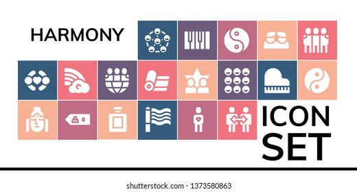 harmony icon set. 19 filled harmony icons.  Simple modern icons about  - Friends, Buddha, Friend, Fragance, Rainbow, Cooperation, Yoga, Piano, Yin yang
