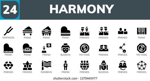 harmony icon set. 24 filled harmony icons.  Collection Of - Diapason, Piano, Friends, Friend, Buddha, Yin yang, Rainbow