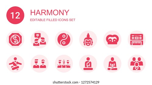 harmony icon set. Collection of 12 filled harmony icons included Yin yang, Friends, Buddha, Meditation, Piano
