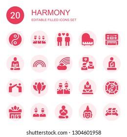 harmony icon set. Collection of 20 filled harmony icons included Yin yang, Friends, Piano, Meditation, Rainbow, Buddha, Relationship, Lotus, Yoga
