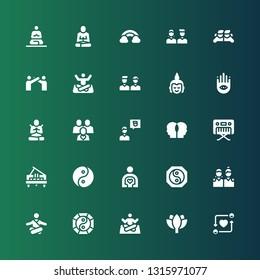 harmony icon set. Collection of 25 filled harmony icons included Friends, Lotus, Yoga, Yin yang, Meditation, Friend, Piano, Relationship, Meditate, Buddhism, Buddha, Rainbow