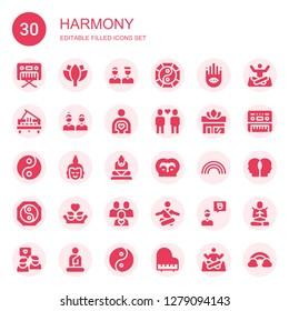 harmony icon set. Collection of 30 filled harmony icons included Piano, Lotus, Friends, Yin yang, Buddhism, Friend, Yoga, Buddha, Rainbow, Meditation, Relationship, Meditate