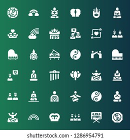 harmony icon set. Collection of 36 filled harmony icons included Yin yang, Piano, Friends, Rainbow, Yoga, Meditation, Friend, Buddha, Lotus, Chimes, Relationship, Buddhism, Meditate