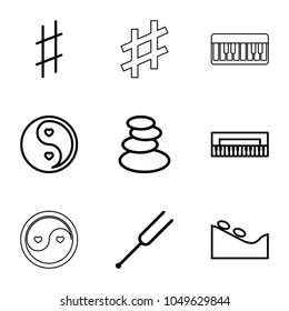 Harmony icons. set of 9 editable outline harmony icons such as spa stones, spa stone, piano, yin yang, tonometer