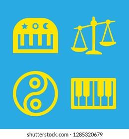 harmony icons set with piano keys, balance and piano vector set