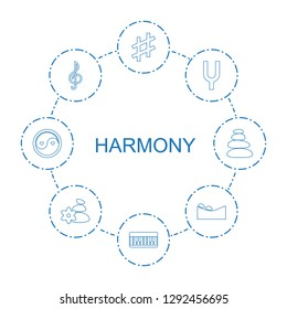 harmony icons. Trendy 8 harmony icons. Contain icons such as musical sharp, piano, tonometer, treble clef, spa stone, spa stones, yin yang. harmony icon for web and mobile.