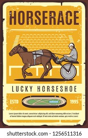 Harness racing equestrian sport, retro vector poster of trotter horse or racehorse with driving harness, sulky cart and jockey on hippodrome track. Horse Racing competition, gambling