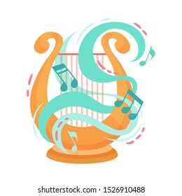 Harp Cartoon Illustration Of Harp Vector Icon Isolated On White Background.