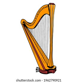 Harp. Classical music. Musical instrument. Cartoon style. Vector illustration for design and decoration.