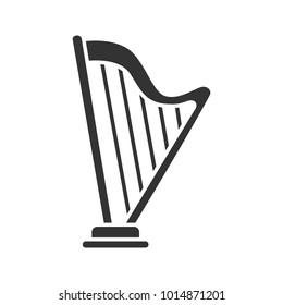 Harp glyph icon. Silhouette symbol. Negative space. Vector isolated illustration