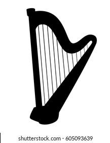 Harp icon set for interiors Flat design style vector illustration