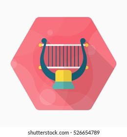 Harp icon , Vector flat long shadow design.