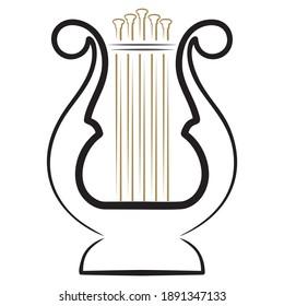 Harp Icon Vector Logo, Lyre Icon Vector Illustration.