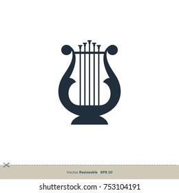Harp Icon Vector Logo Template Illustration Design. Vector EPS 10.