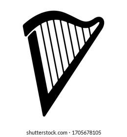 Harp logotype. Flat icon isolated on white background. Music instrument sign vector illustration.