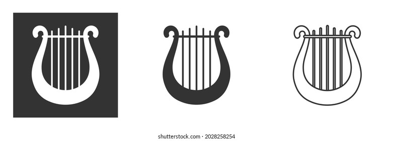 Harp and lyre icon vector logo template illustration design. Symbol of music, muse and inspiration. Calm melody and lullaby. Vector illustration isolated
