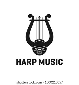 Harp Music Instrument Logo Design Inspiration Vector Stock With Silhouette Style