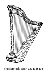 Harp music instrument.  Vector sketch black illustration isolated on white background.