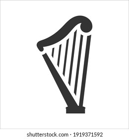 Harp musical instrument icon, Vector graphics