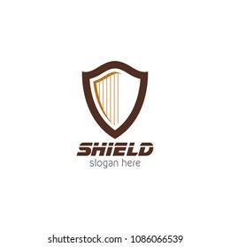 Harp shield protector logo icon design template. Abstract security company vector illustration