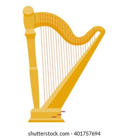 Harp vector illustration isolated on a white background