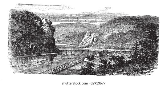 Harper's ferry, West Virginia, United States vintage engraving. Old engraved illustration of beautiful view of harper's ferry during 1890s. Trousset encyclopedia (1886 - 1891).
