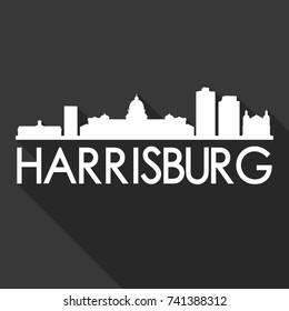 Harrisburg Flat Icon Skyline Silhouette Design City Vector Art Famous Buildings