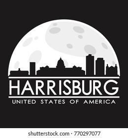 Harrisburg Full Moon Night Skyline Silhouette Design City Vector Art Logo.