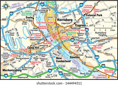 Harrisburg, Pennsylvania area map