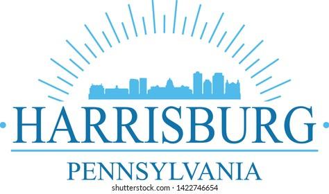 Harrisburg Pennsylvania. Banner Design. City Skyline. Silhouette Vector. Famous Monuments.