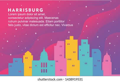 Harrisburg Pennsylvania City Building Cityscape Skyline Dynamic Background Illustration