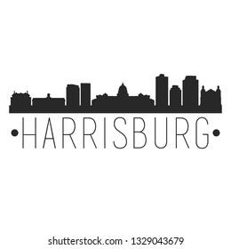 Harrisburg Pennsylvania. City Skyline. Silhouette City. Design Vector. Famous Monuments.