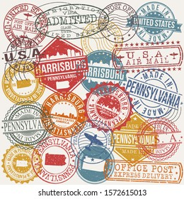Harrisburg Pennsylvania Set of Stamps. Travel Stamp. Made In Product. Design Seals Old Style Insignia.