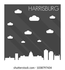 Harrisburg Pennsylvania Skyline City Flat Silhouette Design Background