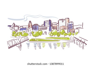 Harrisburg Pennsylvania usa America vector sketch city illustration line art