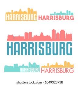 Harrisburg Pennsylvania USA Flat Icon Skyline Vector Silhouette Design Set