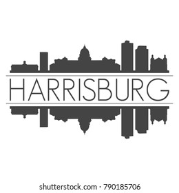 Harrisburg Pennsylvania USA Skyline Vector Art Mirror Silhouette Emblematic Buildings