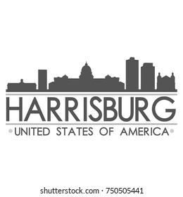 Harrisburg Skyline Silhouette Design City Vector Art Famous Buildings