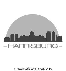 Harrisburg Skyline Silhouette Skyline Stamp Vector City Design